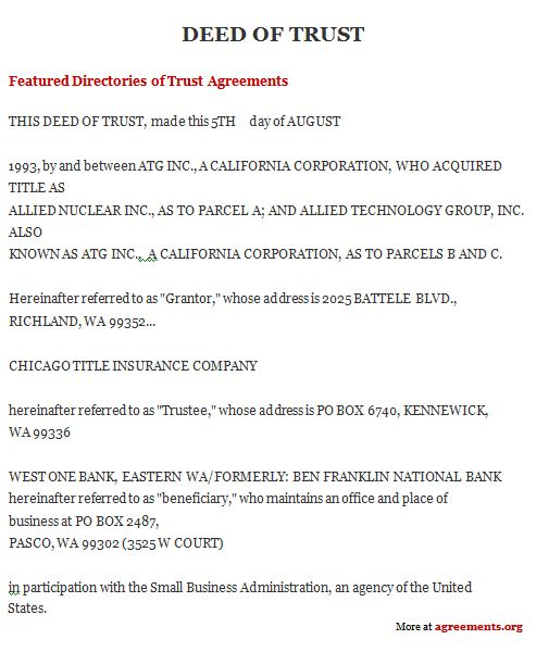 Deed Of Trust A Written Document That Primarily Describes The