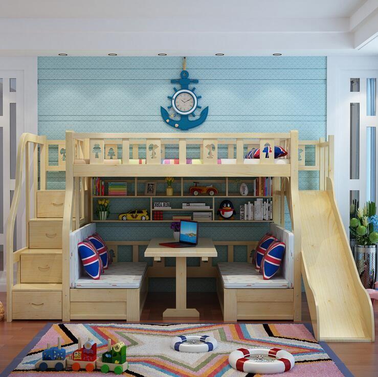 Modern Children Bed Living Room Bunk Bed Solid Wood Meuble
