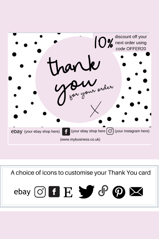 Thank You Business Card Editable Card Poshmark And Ebay Etsy Business Thank You Cards Editable Cards Business Thank You
