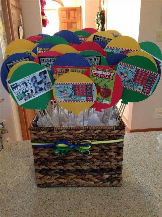 Scratch Off Ticket Basket Gives Me An Idea For Small Game Prizes 60th Birthday Presents Party