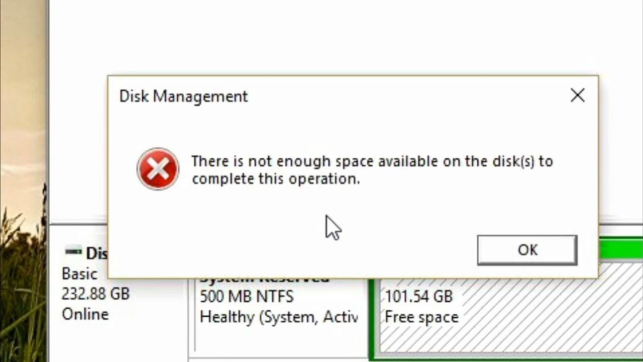 disk partition problem there is not enough space available on the