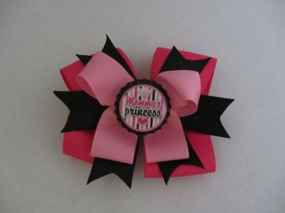 Mommy's Princess bottle cap bow for girls baby by cutelikeaudrey
