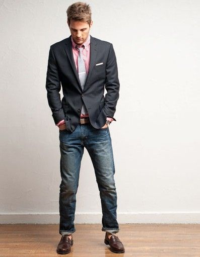 J.Crew ss10 - grey sport coat, jeans and loafers, heather grey tie ...