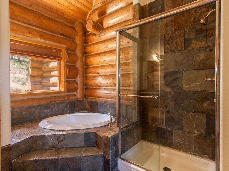 Slate tile shower walls Log Cabin Fever Pinterest Tile