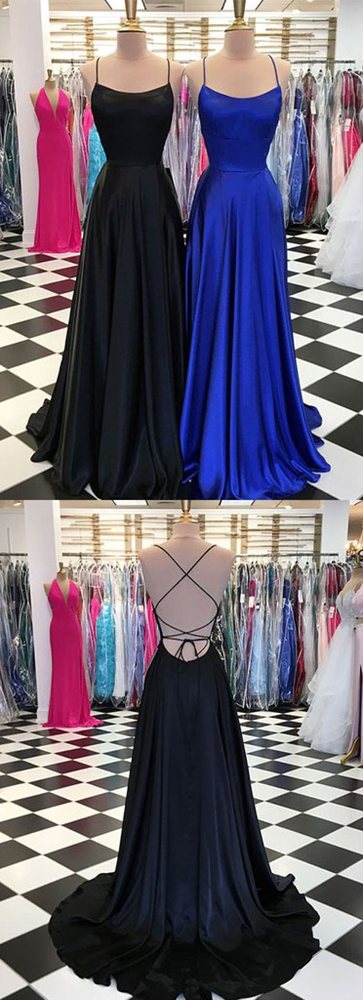 Simple long scoop neck customize prom dress, long open back evening ...