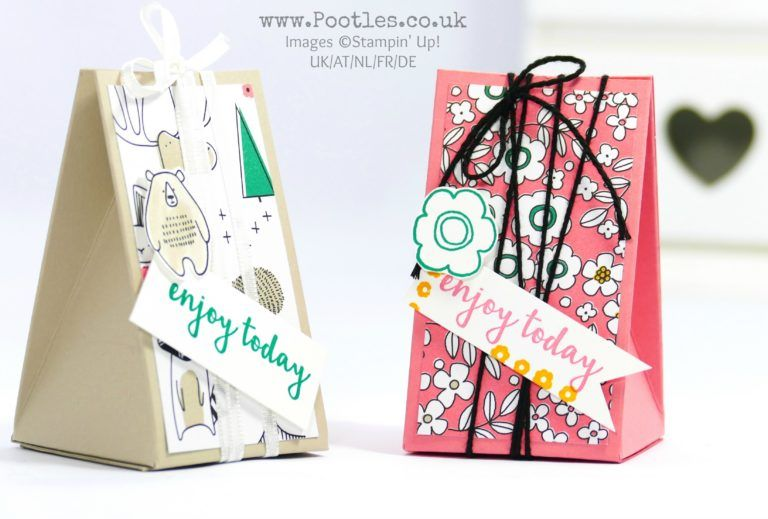 Stampin' Up! Demonstrator Pootles - Triangle Box using Pick a Pattern DSP. Click through for more details and video tutorial