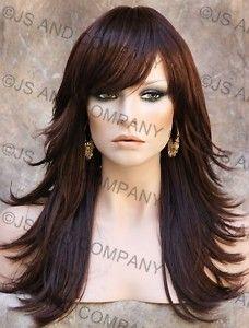 Flip Dark Auburn Long Layered W Bangs Wig Jsfn 33 Long Layered Hair Hair Styles Long Hair Styles