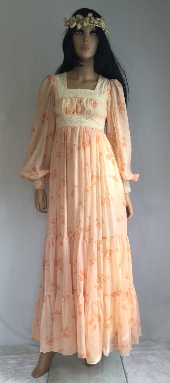 vintage 70s gunne sax hippie wedding dress retro 1970s