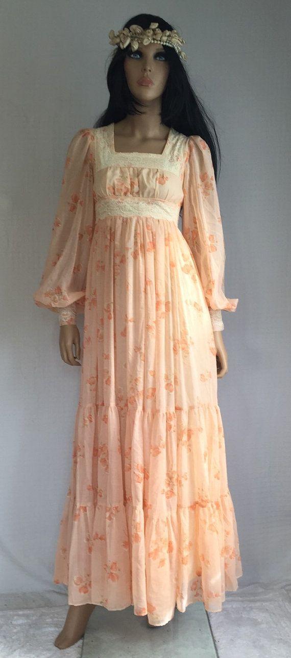 Vintage 70s Gunne Sax Hippie Wedding Dress  Retro 1970s