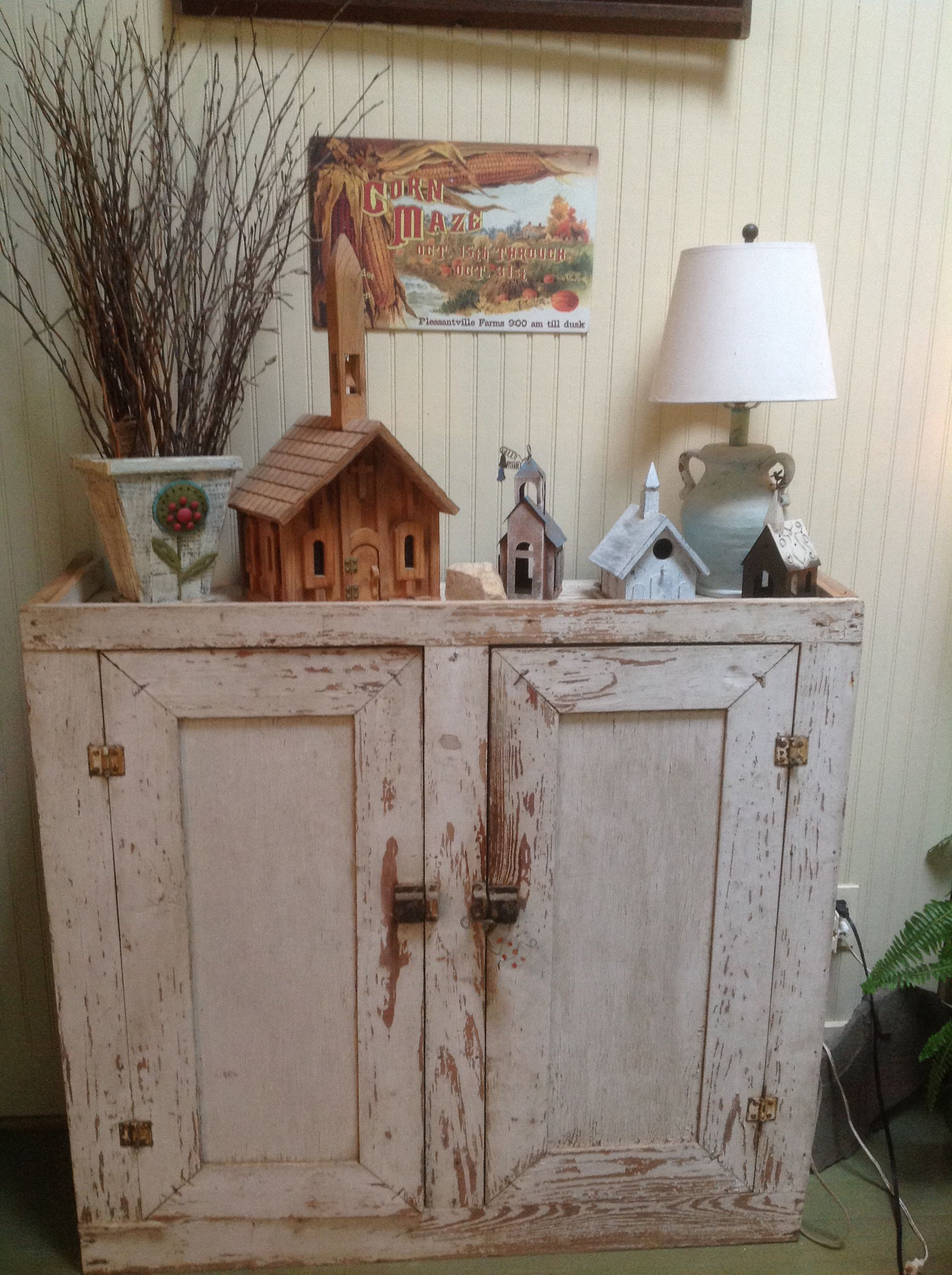An old, peeling, kitchen cabinet from my daddy's workshop ...