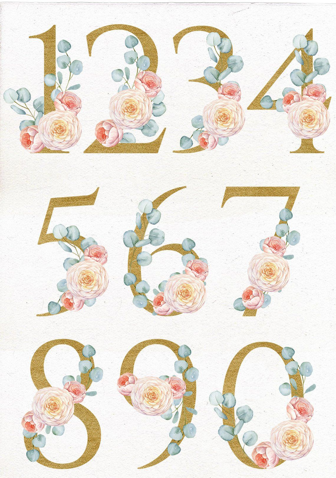 Watercolor Floral Golden Number Clip Art Digital Wedding Number