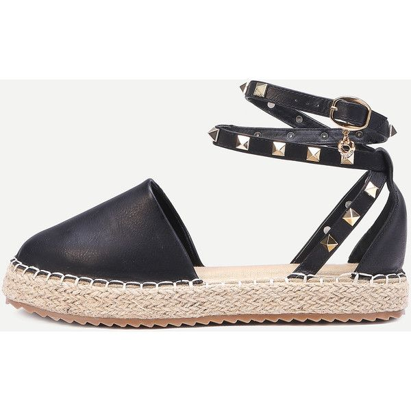SheIn(sheinside) Black Buckled Ankle Strap Faux Leather Flatform... (540 MXN) ❤ liked on Polyvore featuring shoes, sandals, black, flatform shoes, black round toe flats, flat heel sandals, flat shoes and round toe flats