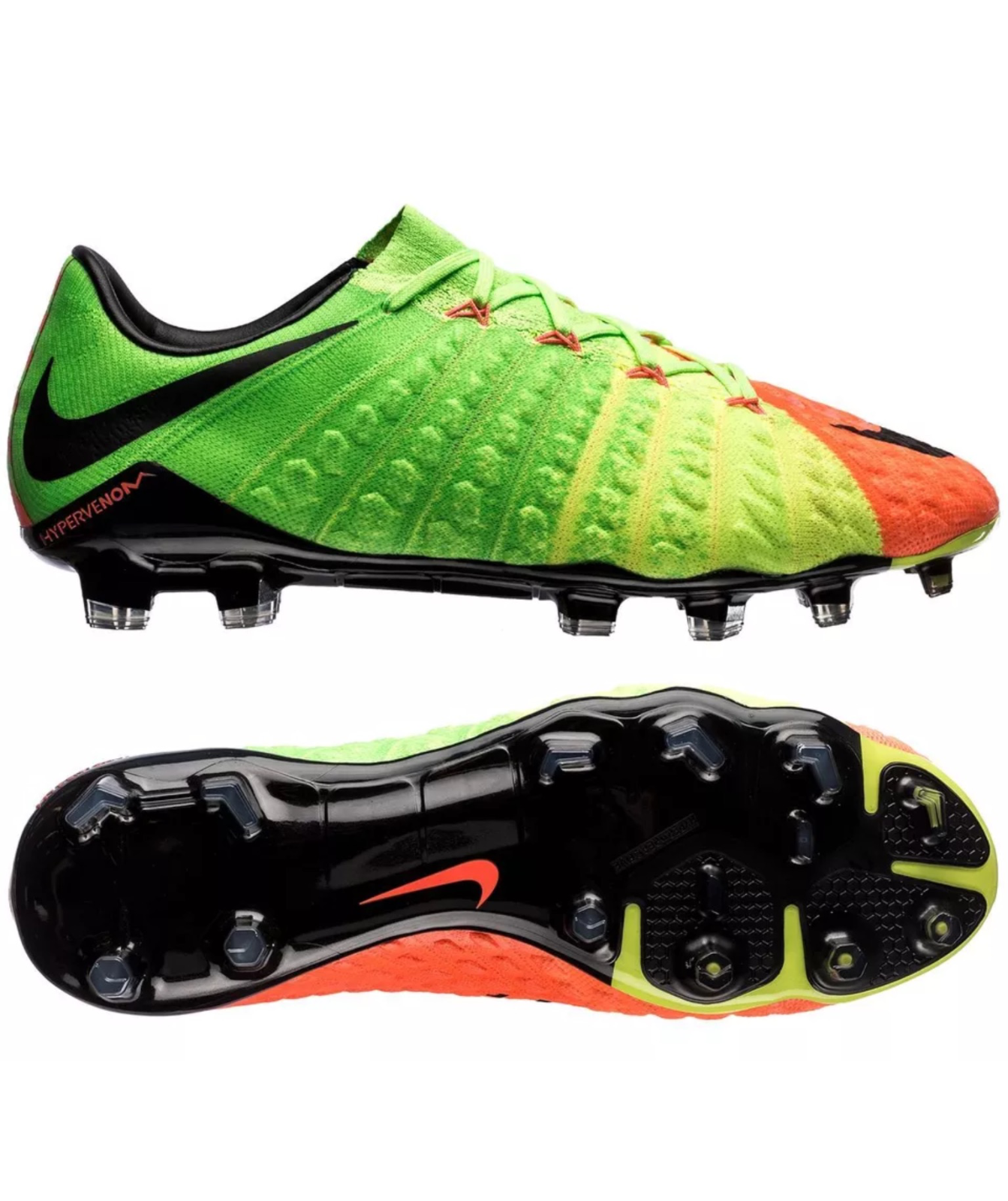 acea0d93e0a NIKE HYPERVENOM PHANTOM III FG ELECTRIC GREEN   BLACK SOCCER CLEATS (852567 -308)