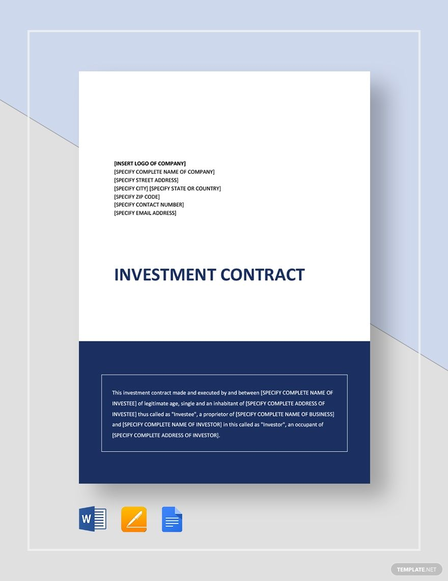Simple Investment Contract Contract template, Templates