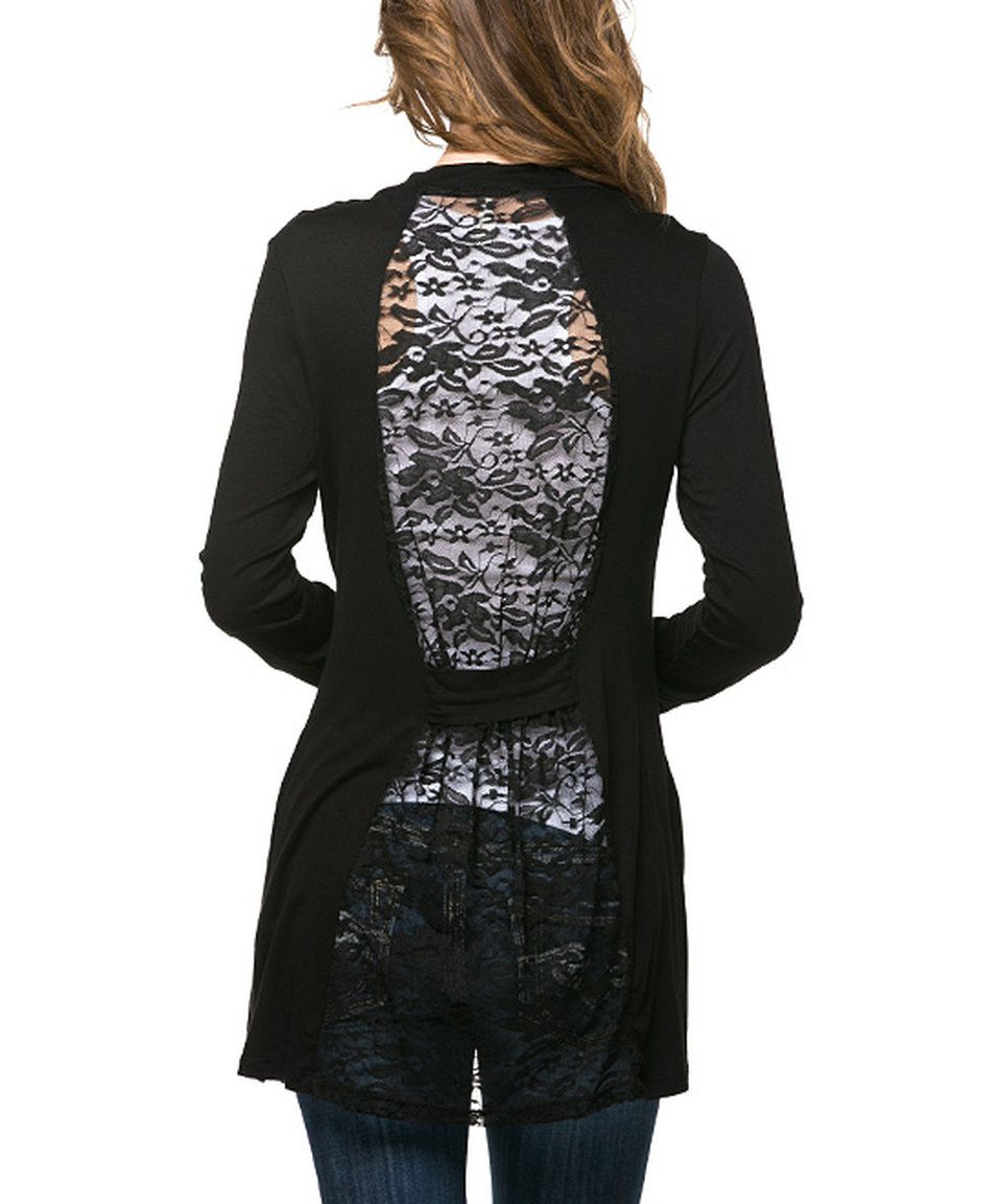 Take a look at this Magic Fit Black Lace-Back Open Cardigan today ...
