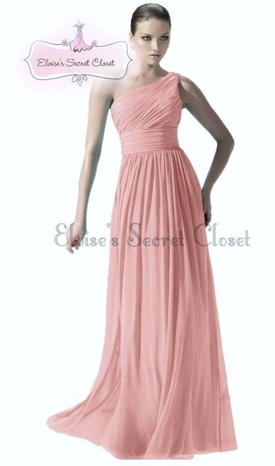 5cbcc7cd76 PAIGE Dusky Pink One Shoulder Chiffon Long Maxi Bridesmaid Dress  www.eloises-secret-closet.co.uk