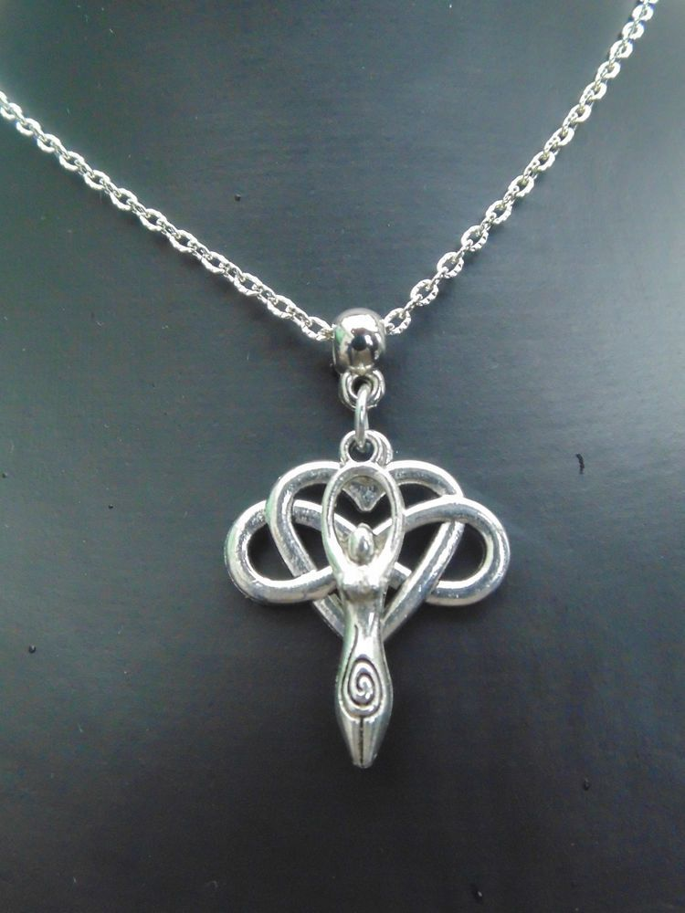 Silver Goddess Earth Mother ETERNAL LOVE Necklace - Pagan / Wicca