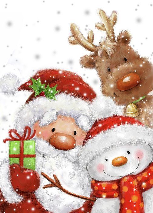 Santa Snowman And Reindeer by Makiko