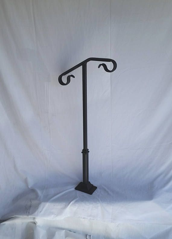 Single Post Ornamental Hand Rail 1 Or 2 Step Railing For Stairs Steel Handrail With Hardware Super Sturdy Handcrafted Usa With Images Step Railing Handrail Porch Step Railing