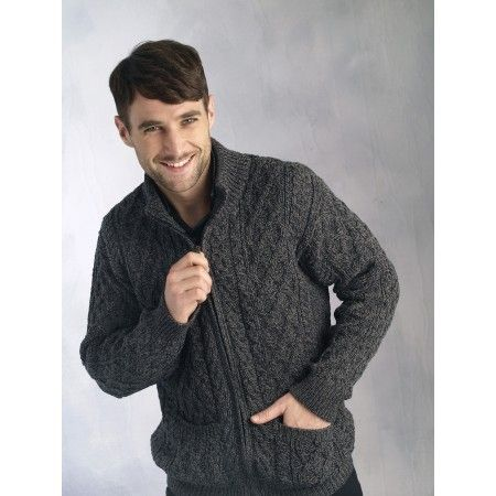 Aran Zip Cable Mens Cardigan Charcoal | My Style | Pinterest ...