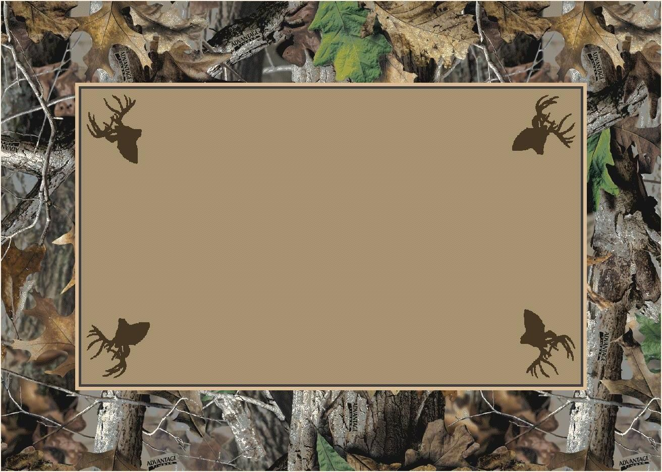 Timber Realtree Bordered Tree Leaves Camouflage Nylon Area Rug