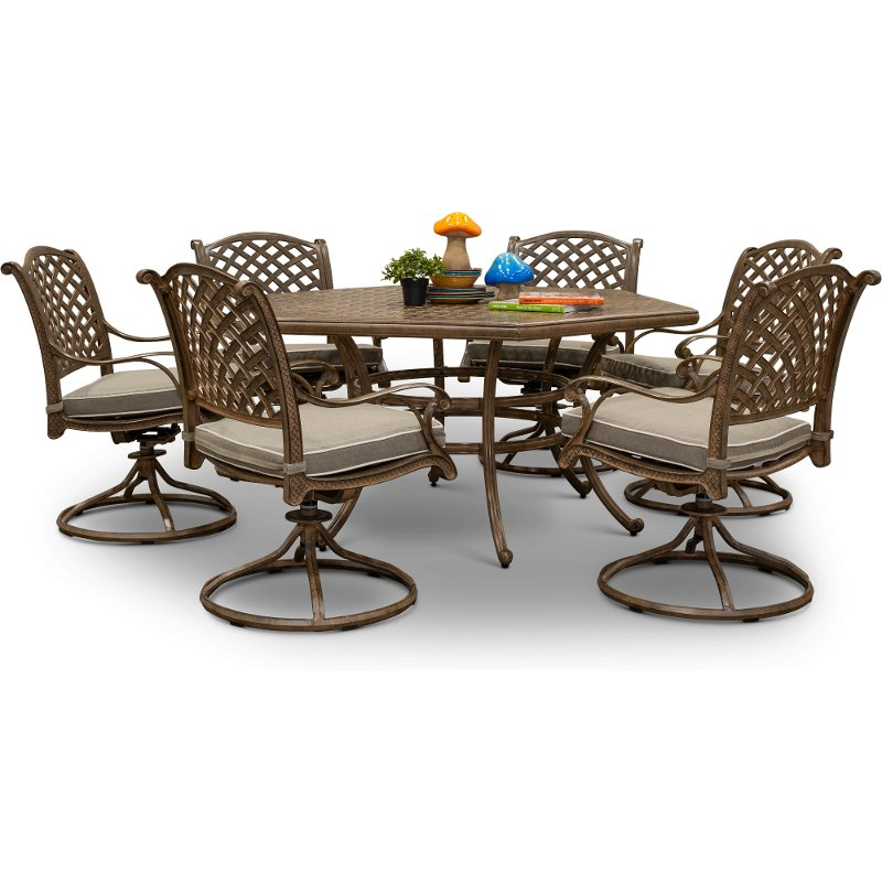 Traditional Brown 7 Piece Patio Dining Set Castle Rock In 2020 Patio Dining Set Patio Dining Swivel Dining Chairs