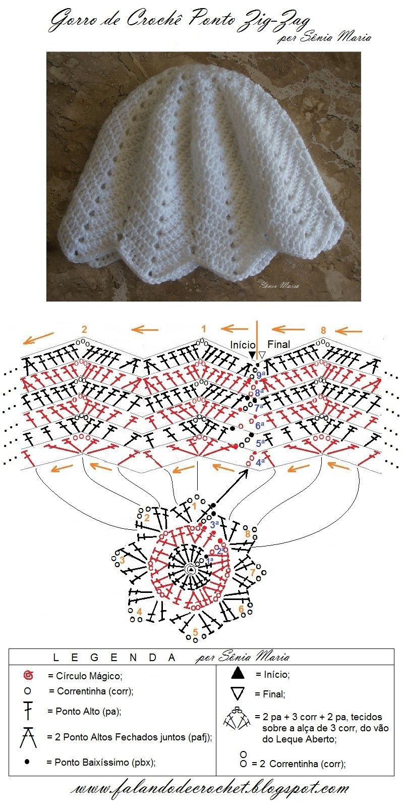 GORRO DE CROCHE PONTO ZIG-ZAG   Crochets TOUCAS   Pinterest   Hablar ...