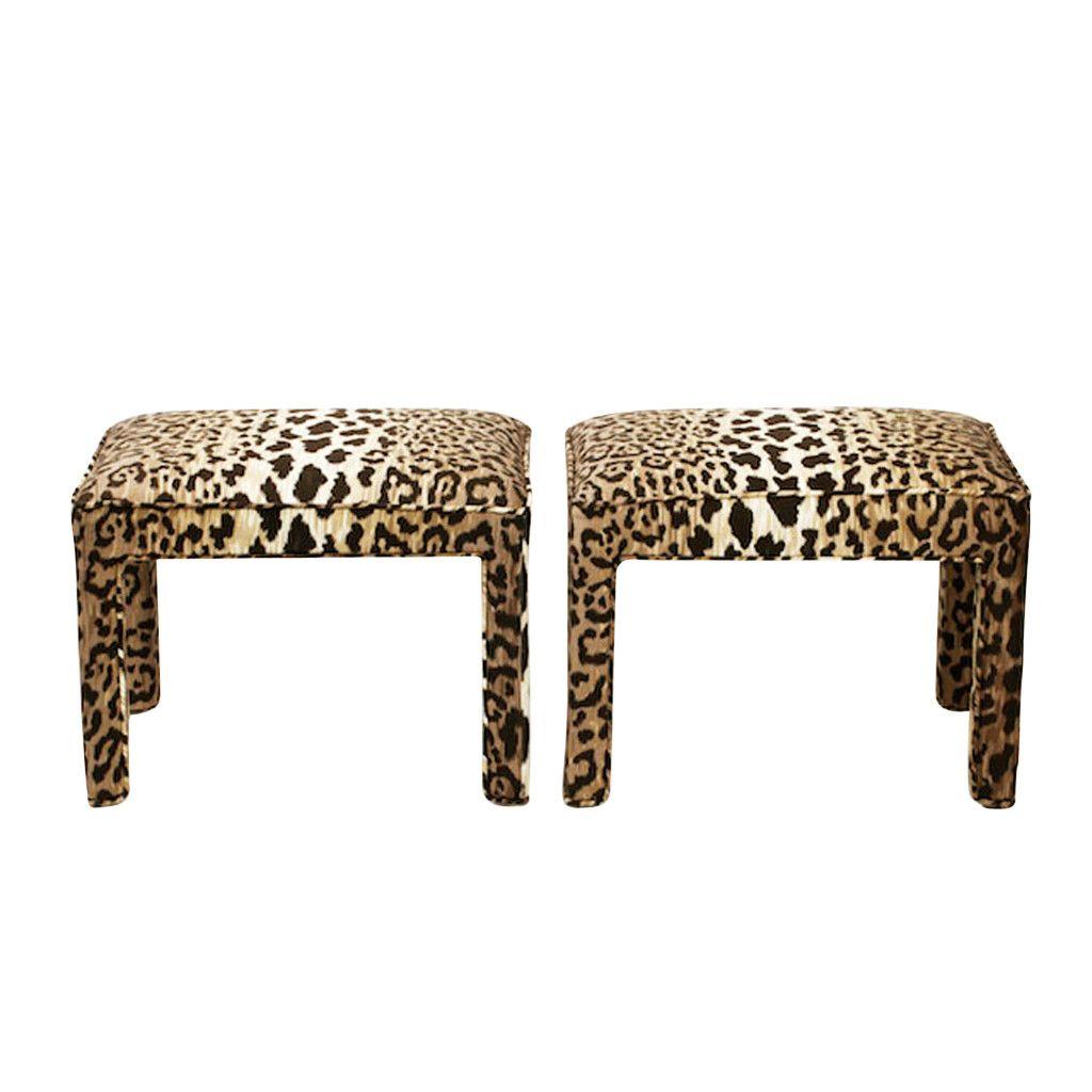 Cheetah Ottoman/Stools, Pair