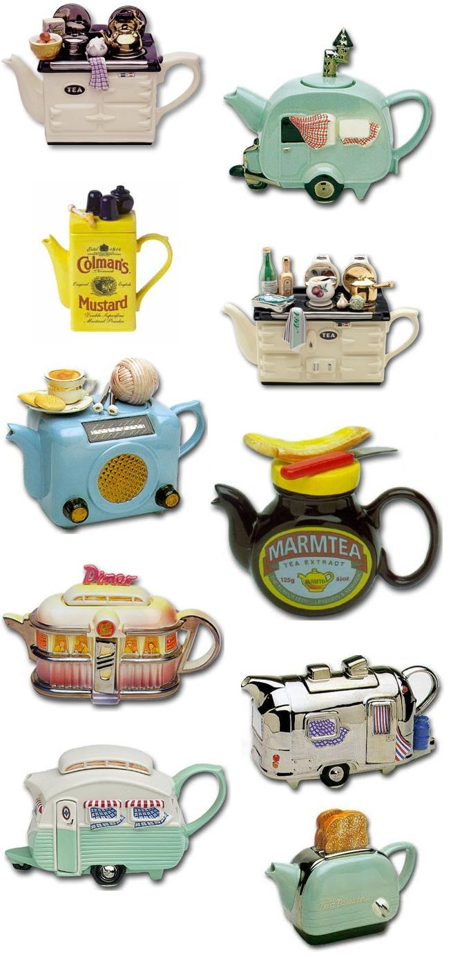 These Teapots Make Me Smile I Love How They Are All Run Of The Mill Everyday Average Items Some Of These Teapots Are Incognito Tea Pots Novelty Teapots Tea