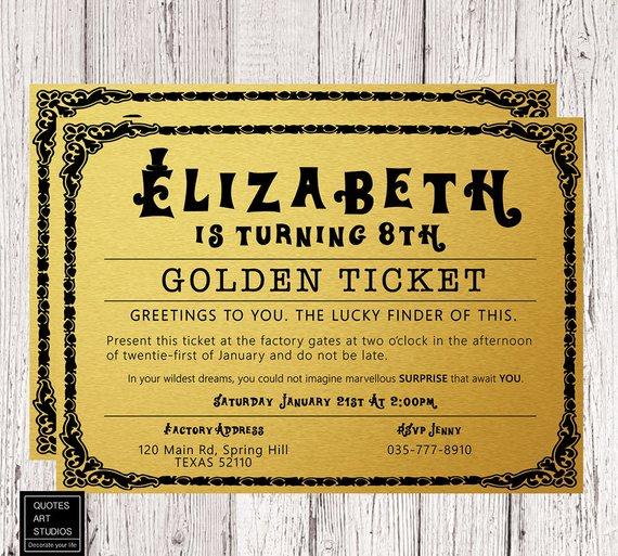 Willy Wonka Golden ticket birthday invitation, Golden ticket