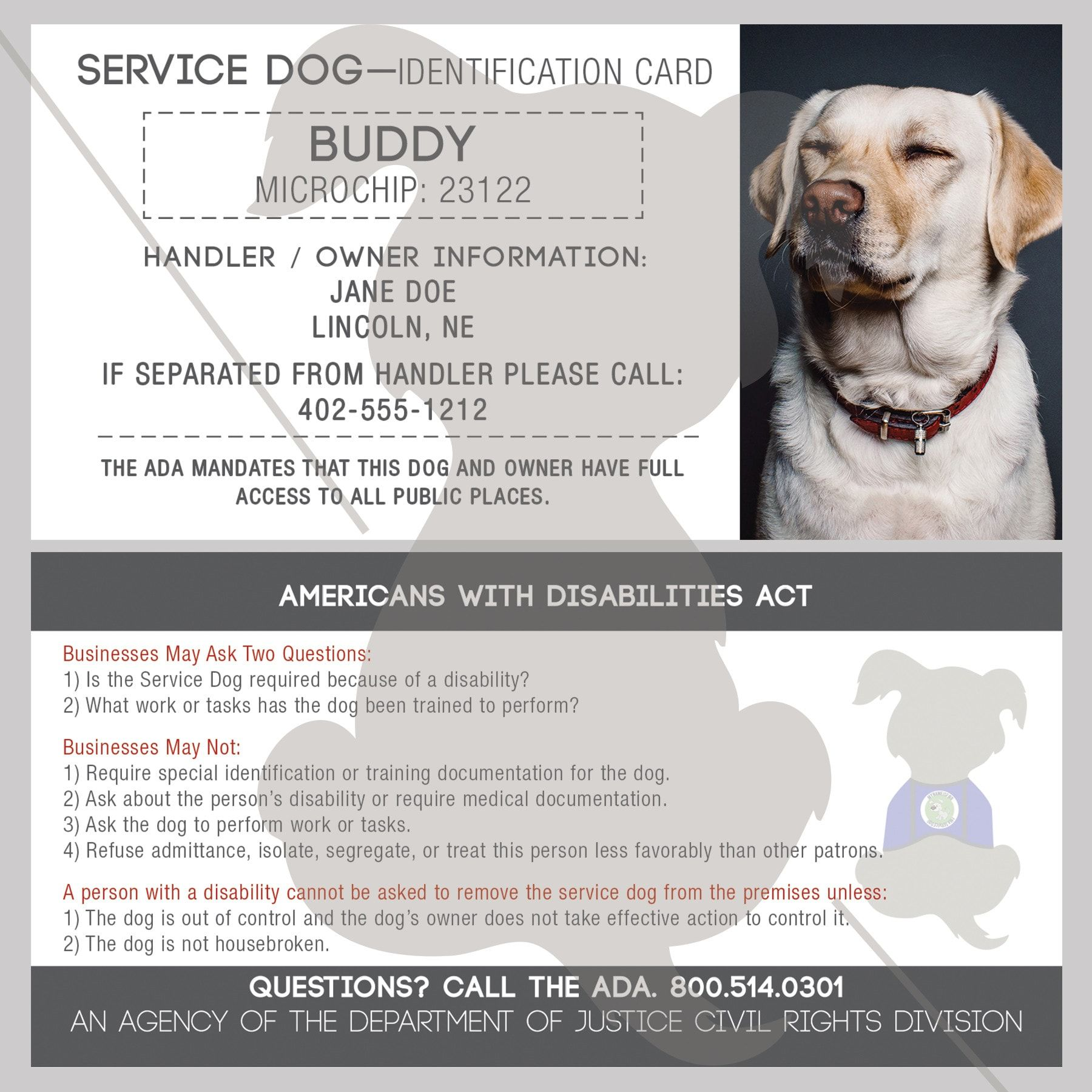 Id Card Service Dog With Holographic Security Seal Service