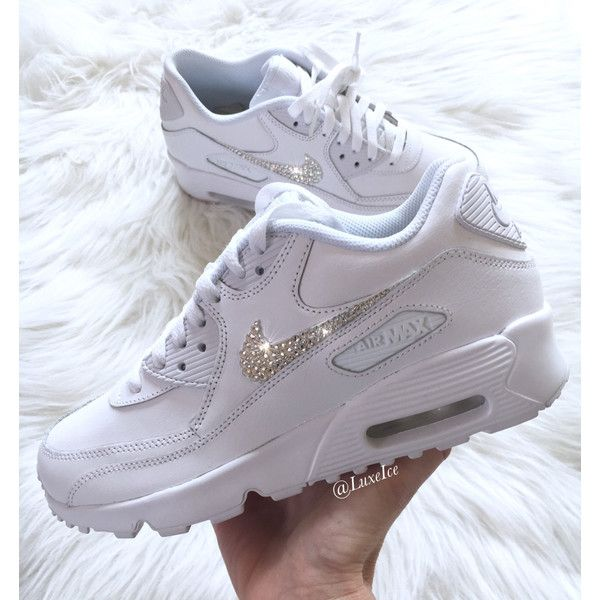 brand new 097bd cd3a5 Nike Air Max 90 White Customized With Swarovski Xirius Rose-Cut... ( 159) ❤  liked on Polyvore featuring shoes, sneakers, silver, sneakers   athletic  shoes, ...