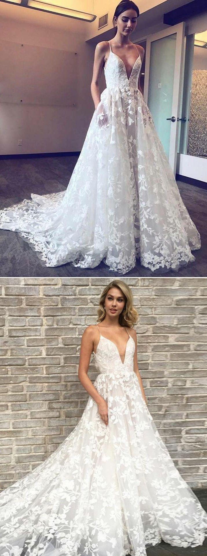 A-Linie Spahettiträger Spitze Hochzeitskleid mit Taschen ...