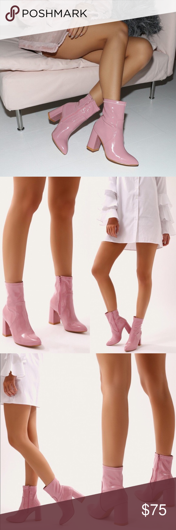 bdc12bc2a1c 🚨RETURNING🚨Public Desire Pink Patent Ankle Boots 💘NWT💘 Public Desire ' Raya' Pointed Toe Ankle Boots in Pink Patent. Sock fit. Chunky heel.