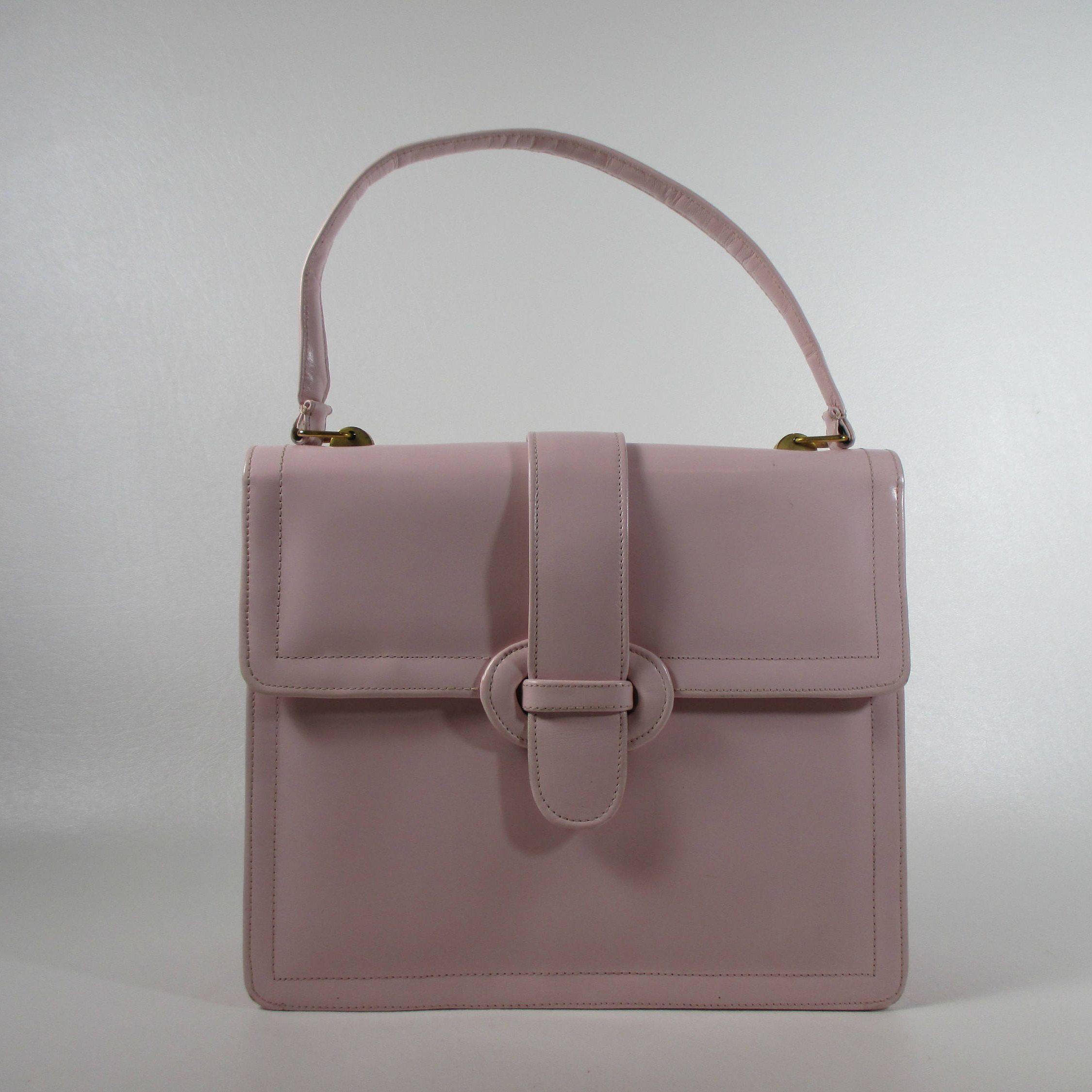 Vintage Pink Leather Kelly Bag Pale Handbag Light Purse 1950s Classic Top Handle 60s Mod Pocketbook By Bob Shoe