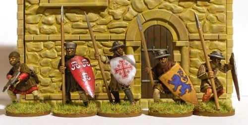 28mm Medieval Chapel painted by Stuart Jordan - Front Detail with Medieval Figures