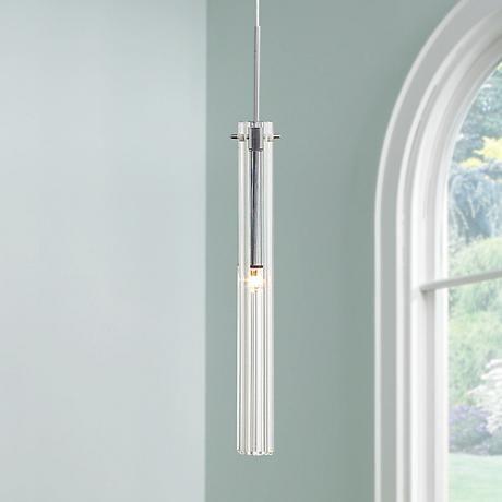 Possini Euro Design Clear Glass Tube Mini Pendant Light Salon