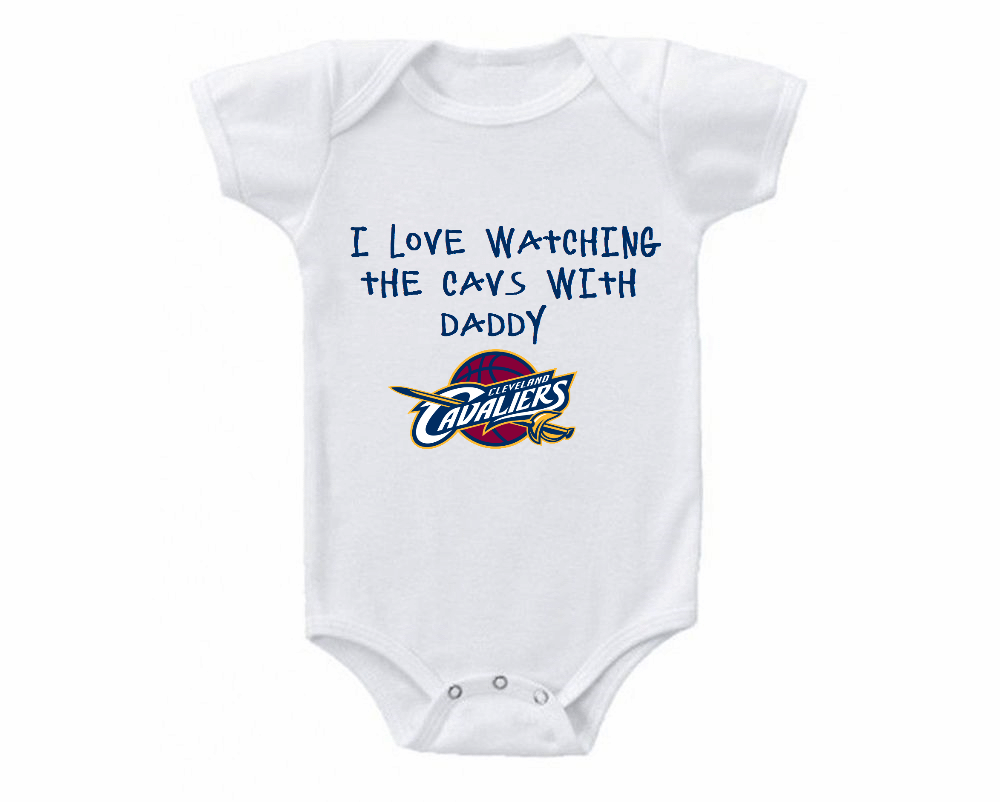 online store 5ddf2 1a49c Cleveland Cavaliers Love Watching With Daddy Baby Onesie or ...