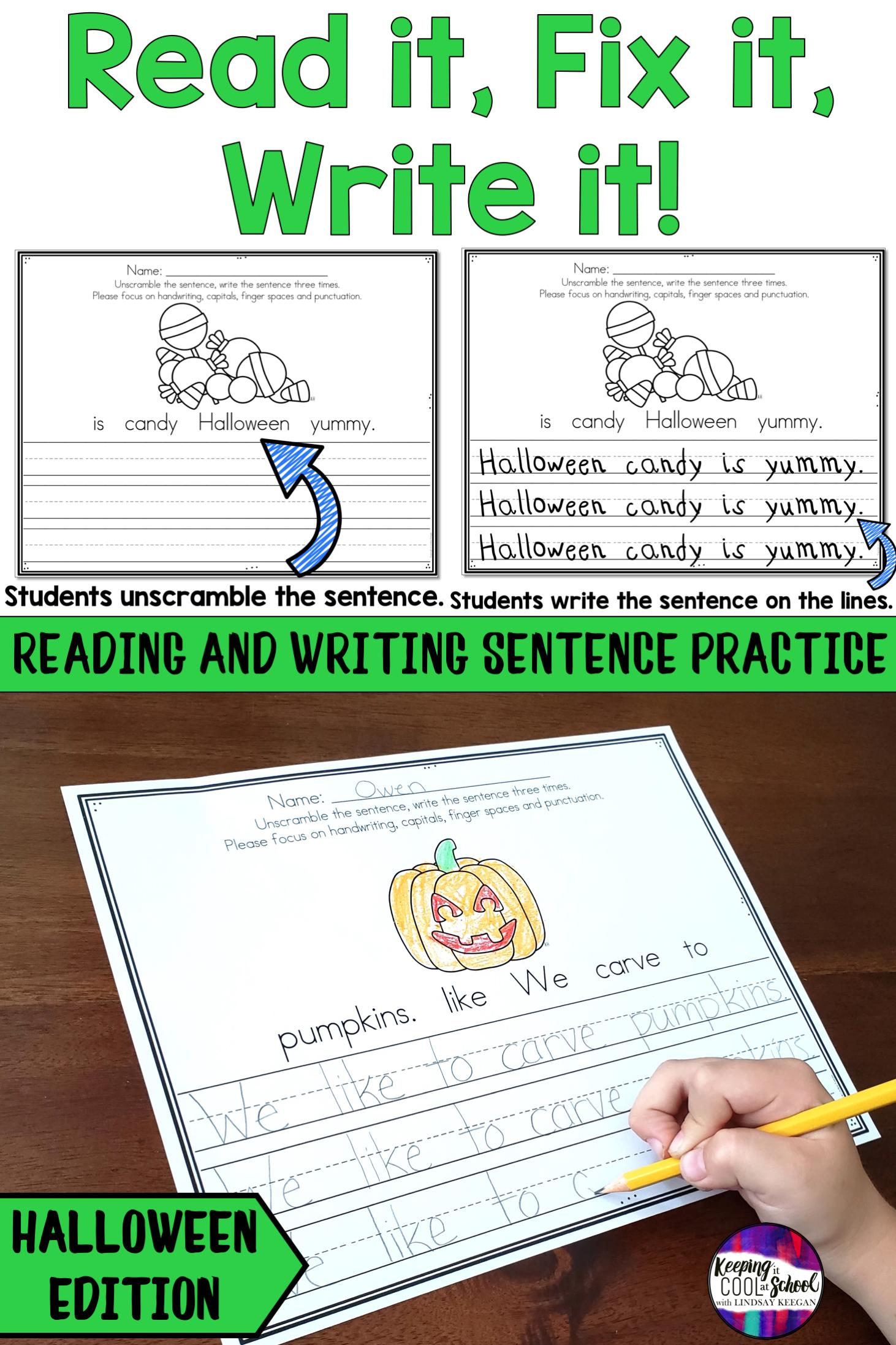 Halloween Sentence Writing Practice