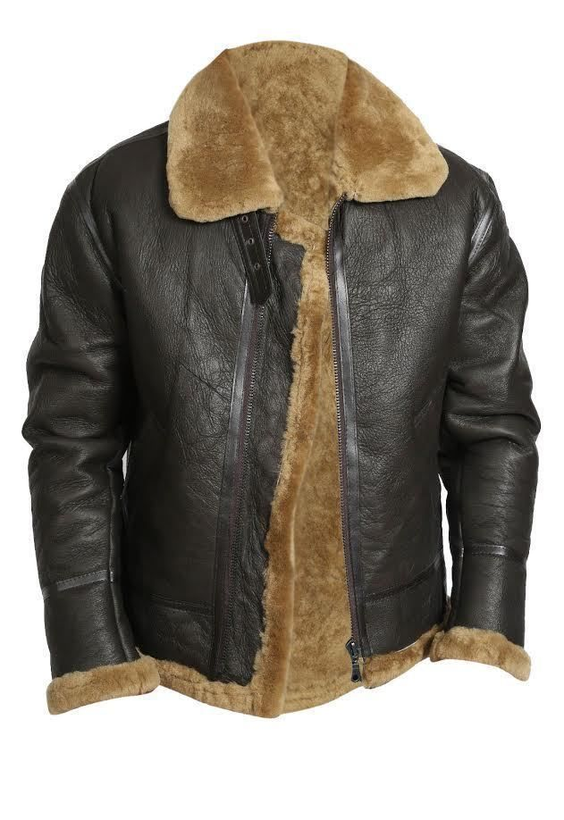 cd0d8fd2651 MEN'S AVIATOR RAF B3 SHEEPSKIN FUR SHEARLING LEATHER BOMBER FLYING JACKET |  eBay