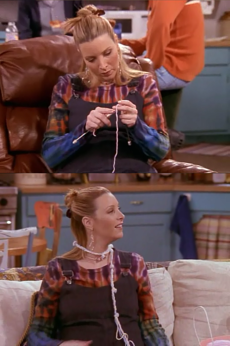 Phoebe attempts to knit. She doesn't really get the hang of it, but she seems pleased with the result.