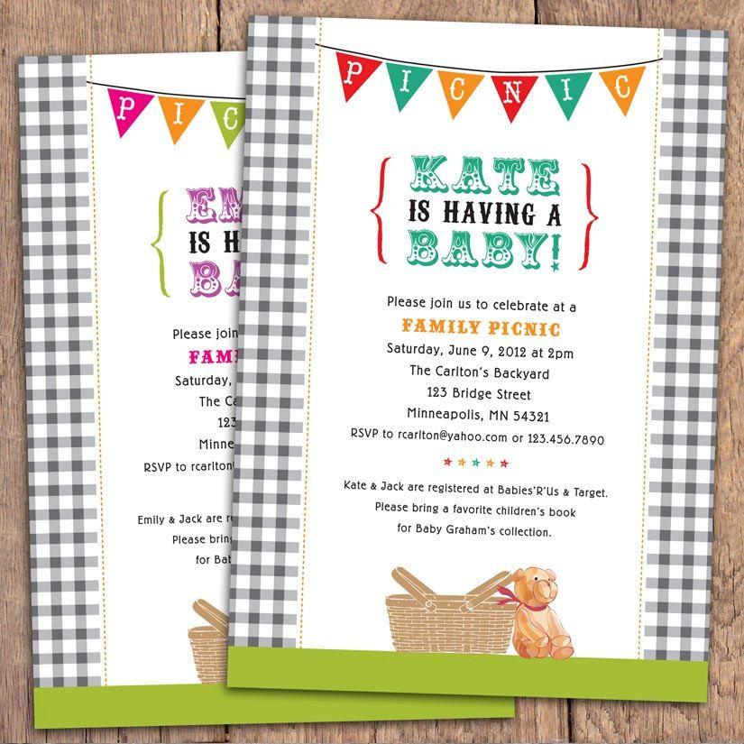 Gingham Picnic - Baby Shower Invitation. Option to Print. $15.00 ...