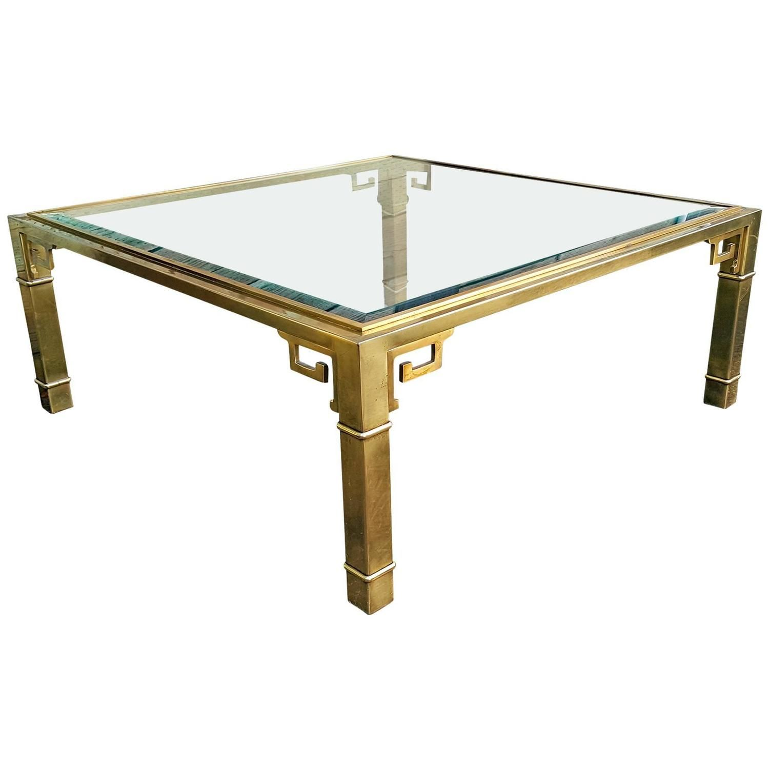 Mastercraft Square Brass Greek Key Coffee Table