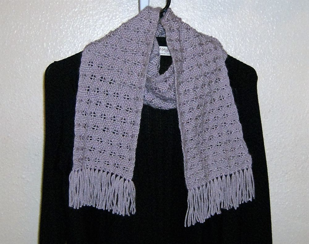 Scarf/Neck Warmer-HAND WOVEN Alternating Brooks Bouquet pattern/Lavender Smoke   #Handmade #Scarf