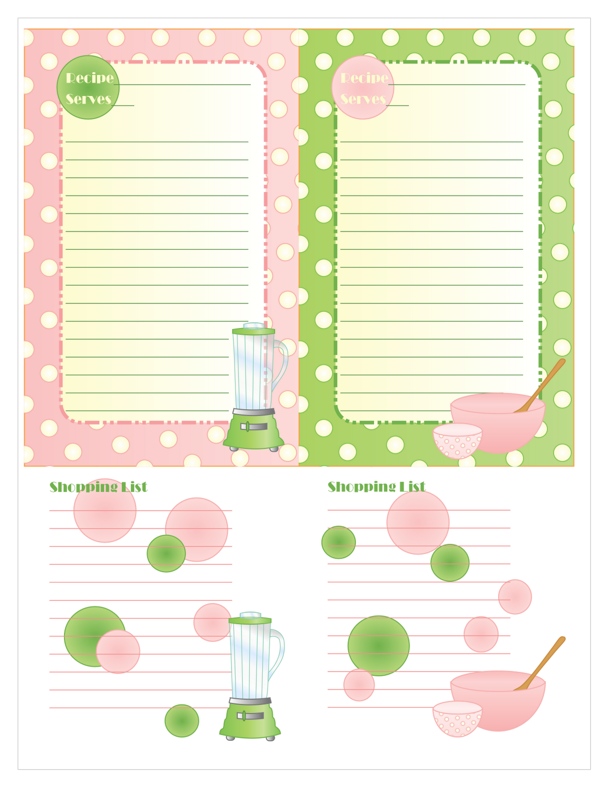 Free Oversized Printable Recipe Cards Including A Place