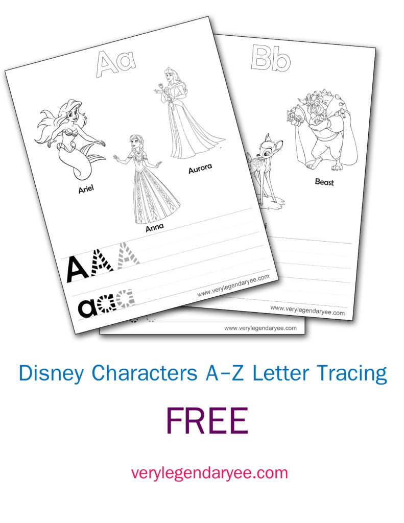 Disney Character Letter Tracing A Z Free Download Tracing