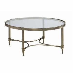 Transitional Metal Frame Oval Coffee Table with Glass Top and Tapered Legs with Stretchers from Brookstone at SHOP.COM