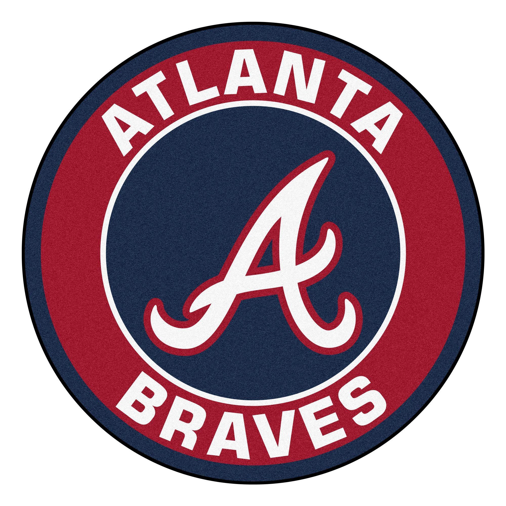 Mlb Atlanta Braves Rounded Non Skid Mat Area Rug 32845476 Atlanta Braves Atlanta Braves Logo Atlanta Braves Wallpaper