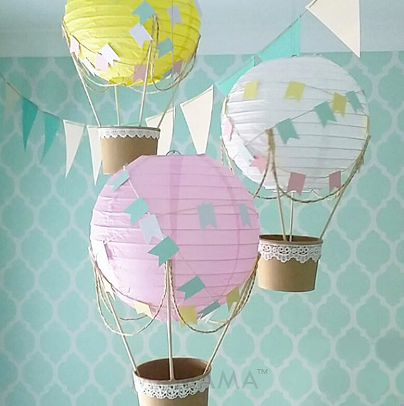 Heißluftballon Dekorationen, Heißluftballon Herzstück, Reise Thema Kinderzimmer, Baby-Dusche-Dekoration - DIY-Kit-Set von 3#babyduschedekoration #dekorationen #diykitset #heißluftballon #herzstuck #kinderzimmer #luftballon #reise #thema #von