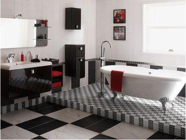 meuble salle de bain noir et blanc laque